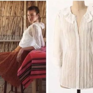 Anthropologie Meadow Rue White Lace Sheer Top 2